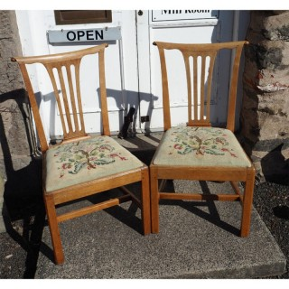 PAIR 18th CENTURY BLEACHED WALNUT HAND CHAIRS