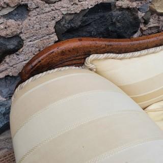 Large Regency Brass Inlaid Scroll End Sofa