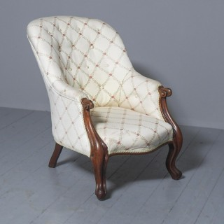 Antique Victorian Upholstered Mahogany Armchair