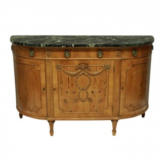 AN UNUSUAL LOUIS XVI STYLE PINE DEMI-LUNE COMMODE