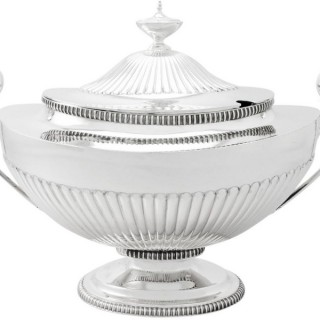 Sterling Silver Soup Tureen - Adams Style - Antique Victorian
