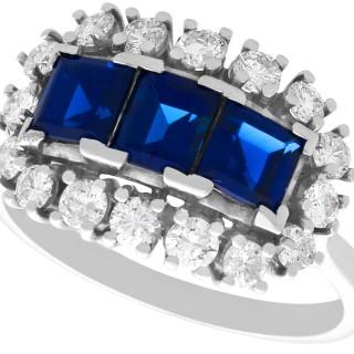 1.55ct Sapphire and 0.48ct Diamond, 18ct White Gold Dress Ring - Vintage Circa 1970