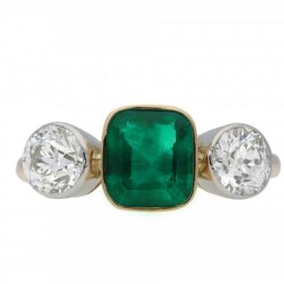Colombian emerald and diamond three stone ring, European, circa 1905.