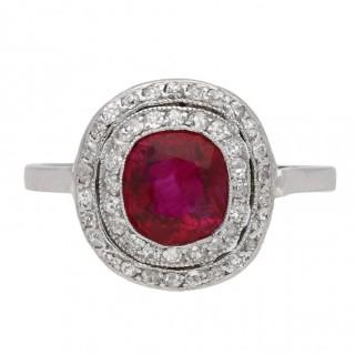 Vintage Burmese ruby and diamond cluster ring, circa 1920.