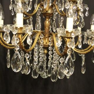 Italian 15 Light Gilded Bronze Antique Chandelier