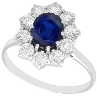 2.87ct Sapphire and 1.40ct Diamond, 18ct White Gold Cluster Ring - Vintage Circa 1975