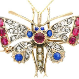 Pearl, Sapphire, Ruby and Diamond, 9 ct Yellow Gold Butterfly Pendant/Brooch - Antique Circa 1880