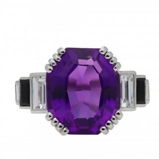 Art Deco amethyst, diamond and onyx ring, circa 1920.