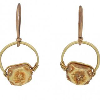 Ancient Roman gold earrings, circa 5th century AD.