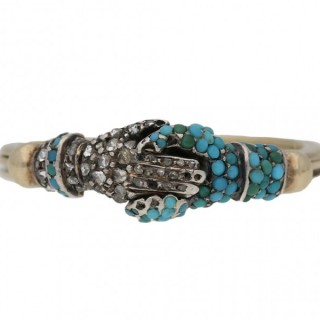 Extremely Rare, Georgian turquoise and diamond fede ring, circa 1750.