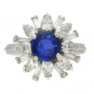 Vintage Burmese sapphire and diamond cluster ring, circa 1970.