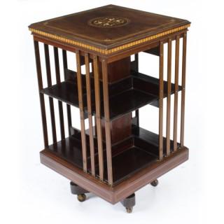 Antique Victorian Revolving Bookcase Flame Mahogany 19th C