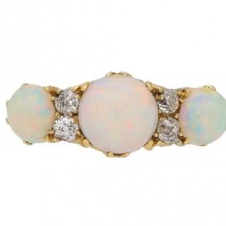 Antique opal and diamond ring, circa 1890.