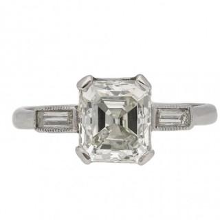 Art Deco Asscher cut diamond ring, circa 1935.
