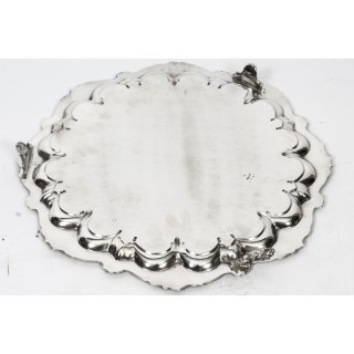 Antique English Victorian Silver Plated Salver Large 19th Century