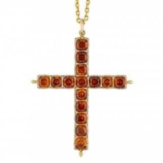 Victorian Hessonite Garnet cross pendant, circa 1880.
