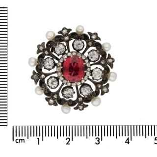Victorian tourmaline, diamond and pearl pendant/brooch, English, circa 1870.