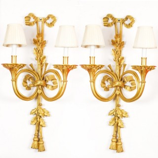 Antique Monumental Pair Ormolu Twin Branch Wall Lights Sconces 19th C