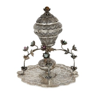 Ottoman filigreed silver and hardstone sweets dish