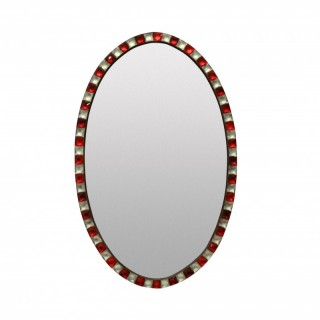 A GEORGIAN STYLE IRISH MIRROR WITH RUBY GLASS & ROCK CRYSTAL FACETED BORDER