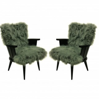 A PAIR OF UNUSUAL FRENCH MID-CENTURY ARMCHAIRS