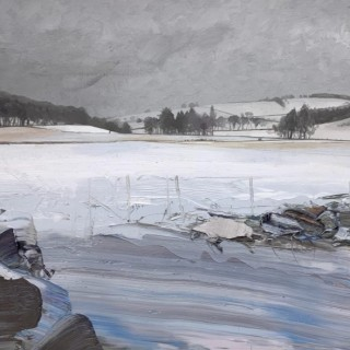 'Snow Covered Fields and Winter Trees, Craigievar' by Chris Bushe RSW (born 1958)