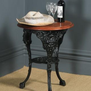 Antique English Victorian Cast Iron & Mahogany Circular Round Britannia Kitchen Garden Table (Circa 1900)