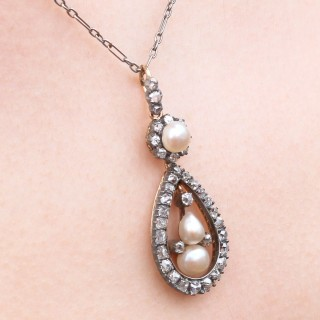 Natural Pearl and 1.42ct Diamond, 12ct Yellow Gold Pendant - Antique Circa 1880