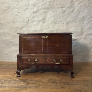 An 18th century Inlaid Welsh oak Coffer Bach