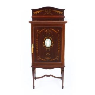 Antique Edwardian Mahogany & Inlaid Music Cabinet c.1900
