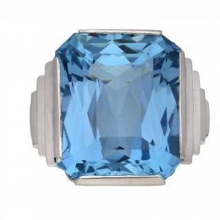 Art Deco solitaire aquamarine ring, circa 1930.