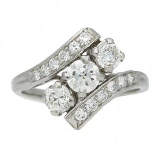 Tiffany & Co. diamond three stone ring, American, circa 1940.