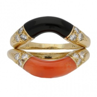 Cartier coral and onyx stack rings, French, circa 1970.