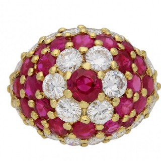 Fred, ruby and diamond cluster ring, French, circa 1960.