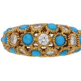 Van Cleef & Arpels turquoise and diamond Sultana ring, circa 1970.