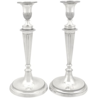 Cast Sterling Silver Candlesticks - Antique George III (1784)
