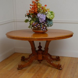 Rare Victorian Satinwood Centre Table / Dining Table