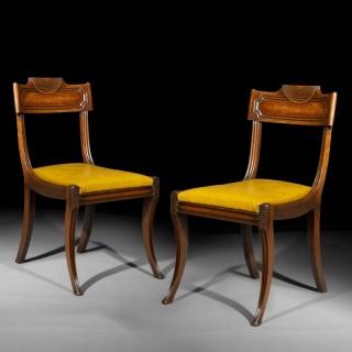 Pair of Regency Klismos Chairs, manner of Marsh and Tatham