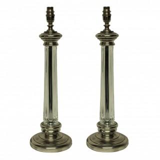 A PAIR OF CUT GLASS & SILVER COLUMN LAMPS
