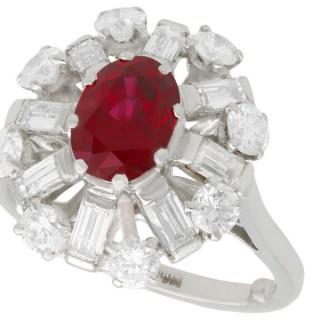 2.02ct Ruby and 1.60ct Diamond, Platinum Cluster Ring - Vintage Circa 1960