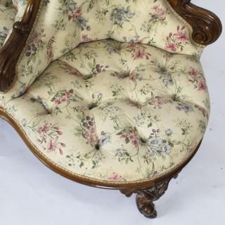 Antique Victorian Walnut Love Seat Conversation Settee C1850 19th C