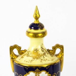 Antique Pair Coalport Urnular Vases & Covers, Late 19th Century