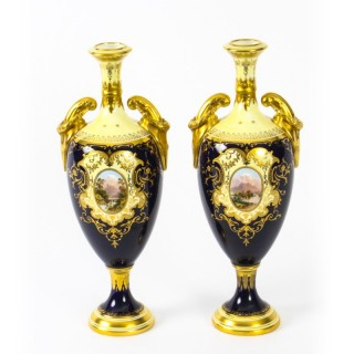 Antique Pair Coalport Pedestal Ovoid Vases Cobalt Blue 19th C