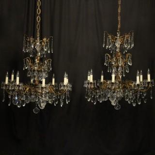 Italian Pair Bronze 8 Light Antique Chandeliers12