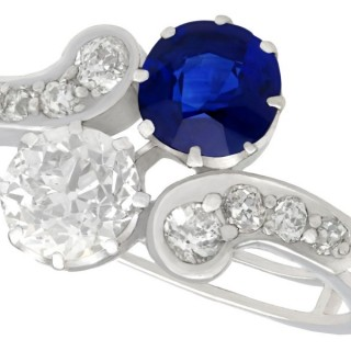 1.19 ct Basaltic Sapphire and 1.28 ct Diamond, 18 ct White Gold Twist Ring - Antique Victorian