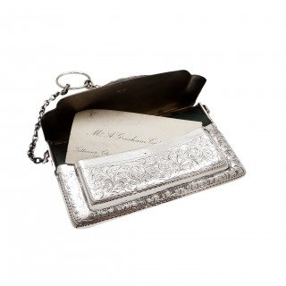 Antique Edwardian Sterling Silver Double Card Case 1910