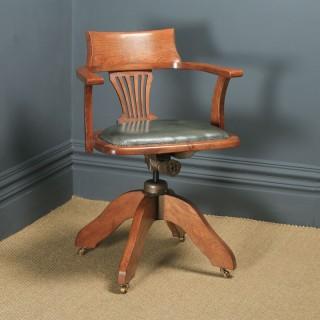 Antique English Edwardian Oak & Pale Green Leather Revolving Office Desk Arm Chair (Circa 1910)