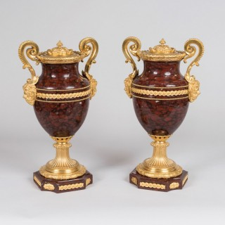 A Pair of Ormolu-Mounted Vases In the Louis XVI Manner