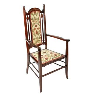Art Nouveau Inlaid Mahogany Arm Chair
