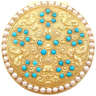 12ct Yellow Gold, Pearl and Turquoise Pill Box - Antique Circa 1815